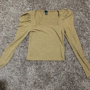 Too cute poof sleeve gold stretchy top
